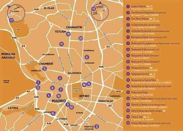 Mapa de los restaurantes participantes
