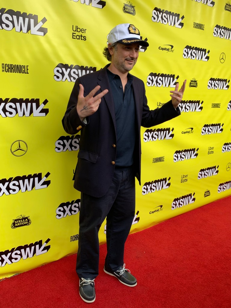 Director Harmony Korine at the SXSW red carpet premiere of The Beach Bum.