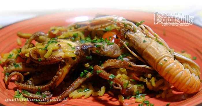 paella con polpo e scampi
