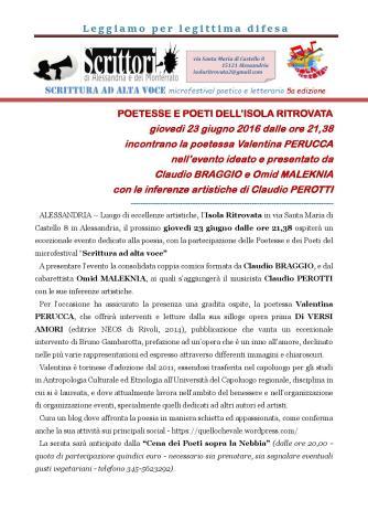 comunicato stampa 23 GIUGNO 2016 VALENTINA PERUCCA AL MICROFESTIVAL SCRITTURA AD ALTA VOCE 2011 2016-page-001