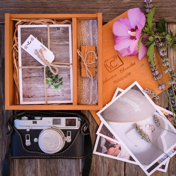 coffret usb bois photographe de mariage personnalisé aux couleurs des mariés