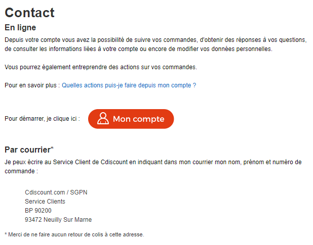 Page Contact Cdiscount