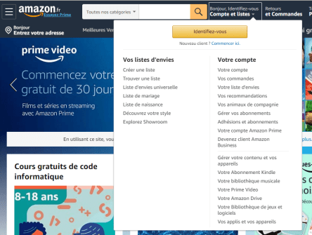 Se connecter sur Amazon