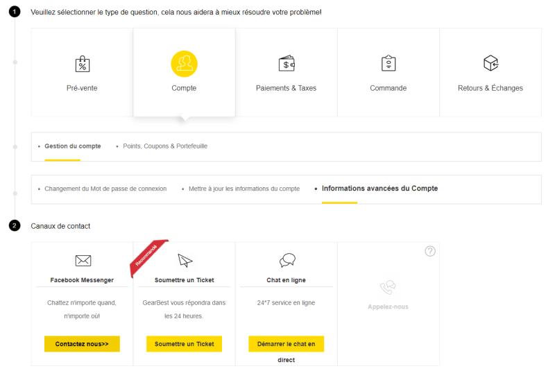 Moyens de contact service client Gearbest