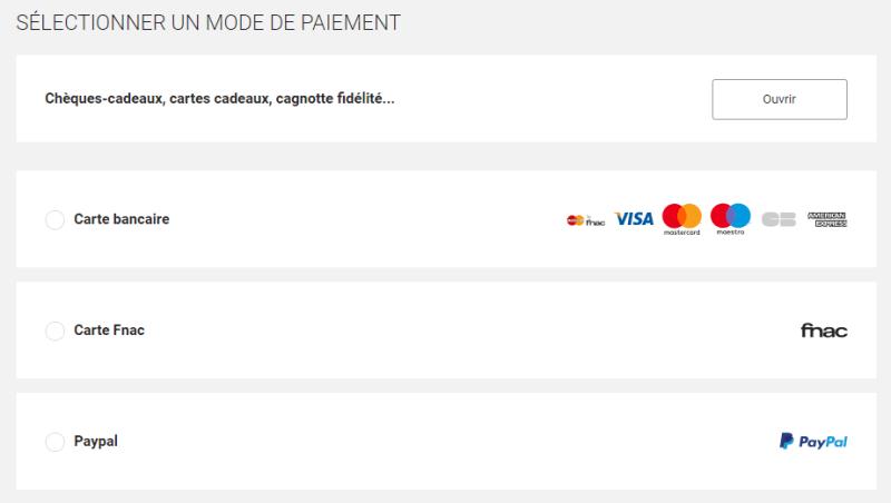 Sélectionner PayPal Fnac