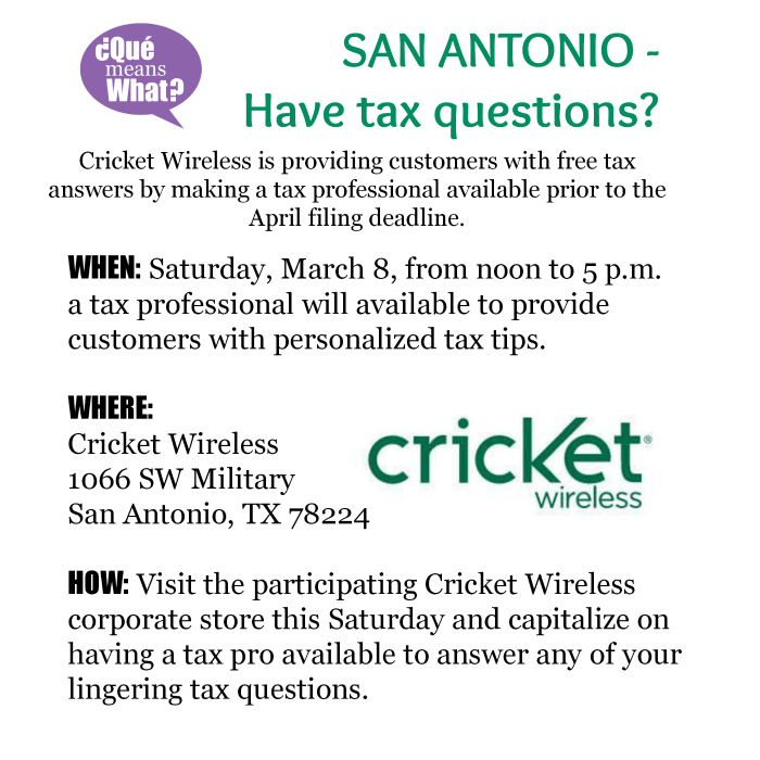 Cricket Wireless Tax Session San Antonio QueMeansWhat