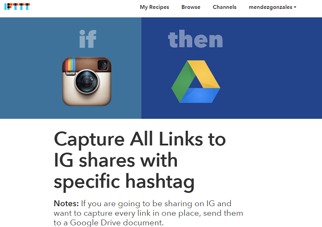 IFTTT Instagram to Google Drive