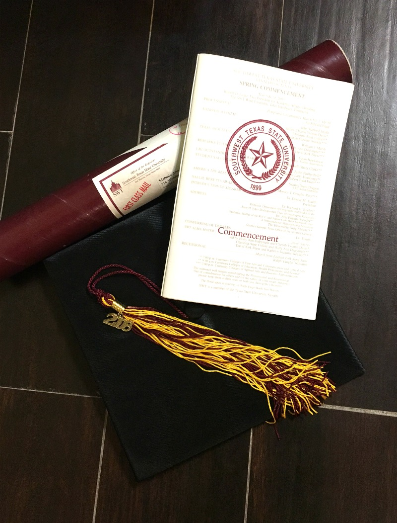 My college gradation diploma, program, hat and tassle
