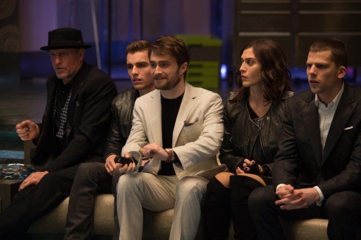 Merritt McKinney (Woody Harrelson, far left), Jack Wilder (Dave Franco, center left), Walter Mabry (Daniel Radcliffe, center), Lula (Lizzy Caplan, center right) and J. Daniel Atlas (Jesse Eisenberg, far right) in NOW YOU SEE ME 2. Photo Credit: Jay Maidment
