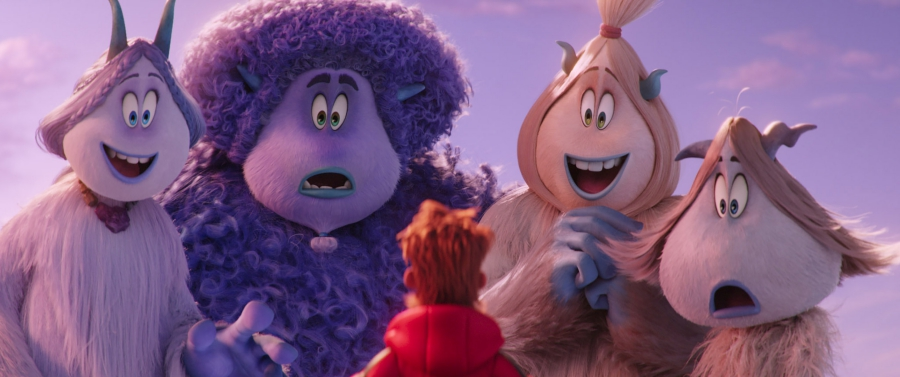 "(L-R) Meechee voiced by ZENDAYA, Gwangi voiced by LEBRON JAMES, Percy voiced by JAMES CORDEN, Kolka voiced by GINA RODRIGUEZ and Fleem voiced by ELY HENRY in the new animated adventure ""SMALLFOOT,"" from Warner Bros. Pictures and Warner Animation Group. Courtesy of Warner Bros. Pictures"