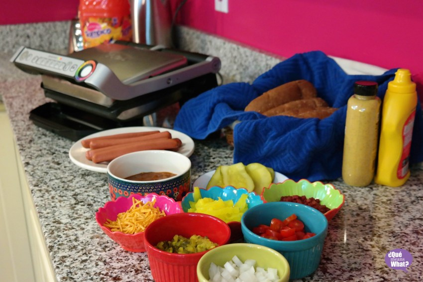 Grilling Indoors - Our Hot Dog Bar QueMeansWhat.com