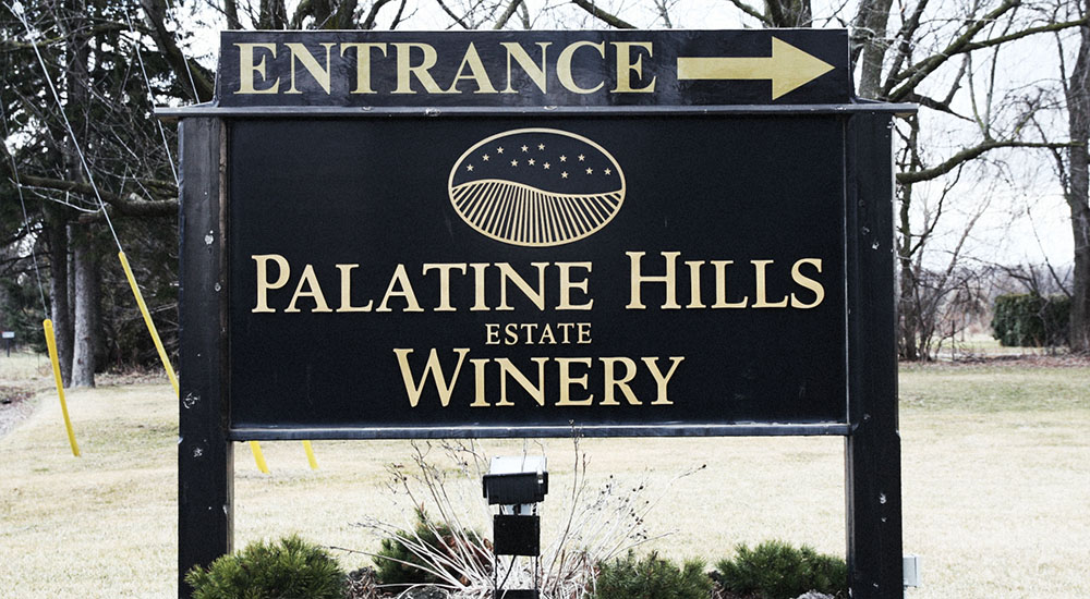 Palatine Hills Estate Winery entry sign