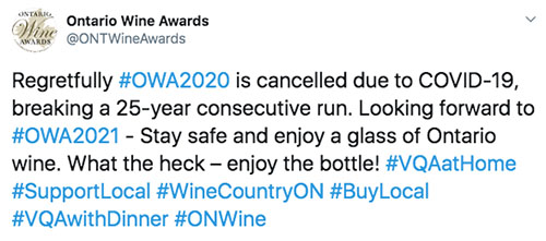2020 Ontario Wine Awards cancelled