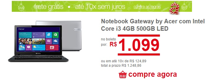 notebook gateway da marca Acer com intel core i3 loja americanas