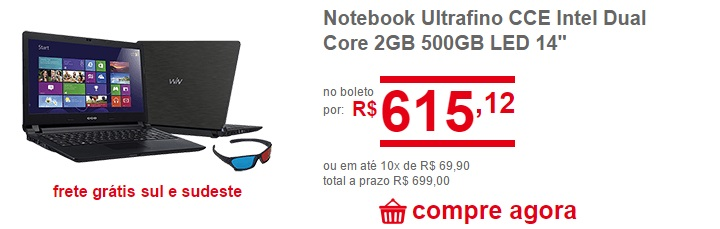 notebook ultrafino cce intel dual core com 2 gb barato