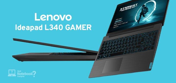 Lançamento Lenovo Ideapad L340 Gamer visão em perspectiva com tela aberta e visão lateral