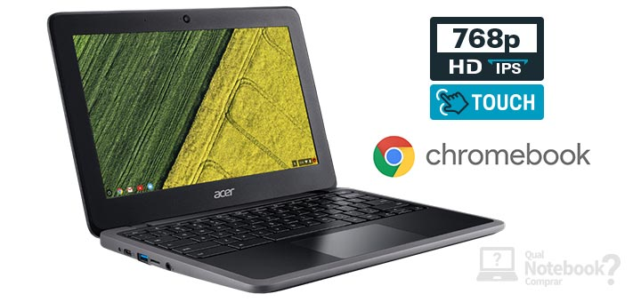 Acer Chromebook C7 C733T-C2HY capa Intel Celeron RAM 4 GB Flash eMMC 32 GB HD IPS Touchscreen