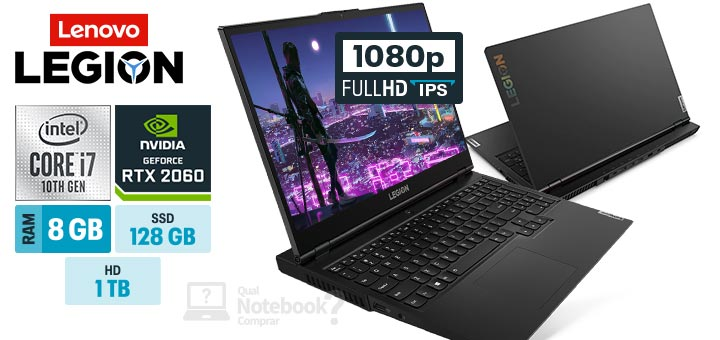 Lenovo Legion 5i 82CF0005BR capa Intel i7 10th RAM 8 GB SSD 128 GB 1TB HDD GeForce RTX 2060 Full HD IPS