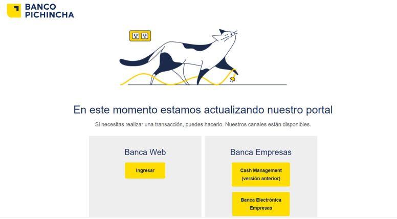 Mensaje de la banca web dice que se están actualizando. Foto: Captura