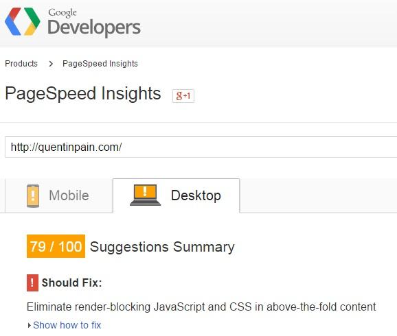 site speed before desktop image