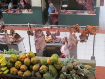 """while we ate at the """"food court"""" in Gualaceo, I was fascinated with all the fresh meat! Makes me glad I'm vegan!"""