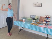 Summer's sister-in-law Bethany as Rosie the Riveter. I gave Summer a retro 50's housewife shower. Is she too cute or what!?