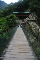 swinging bridge at Pailon del Diablo