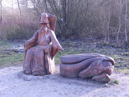 Wooden Wizard and Dragon at Carsington