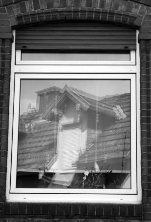 Peppis Haus spiegelt sich beim Holzhauer