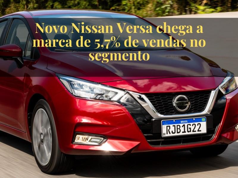 Novo Nissan Versa chega a marca de 5,7% de vendas no segmento