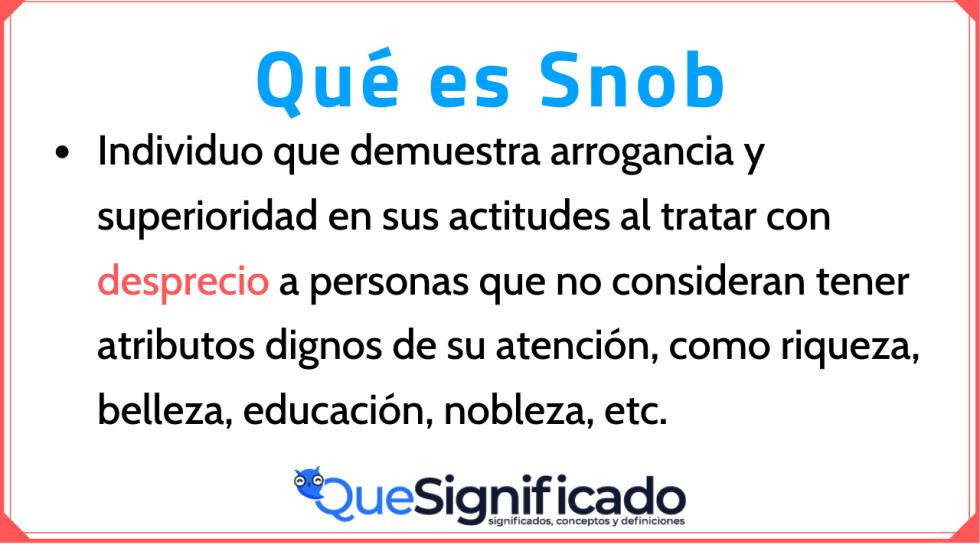 Significado Concepto y Definición de Snob
