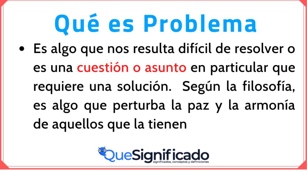 Significado Concepto Definición de Problema