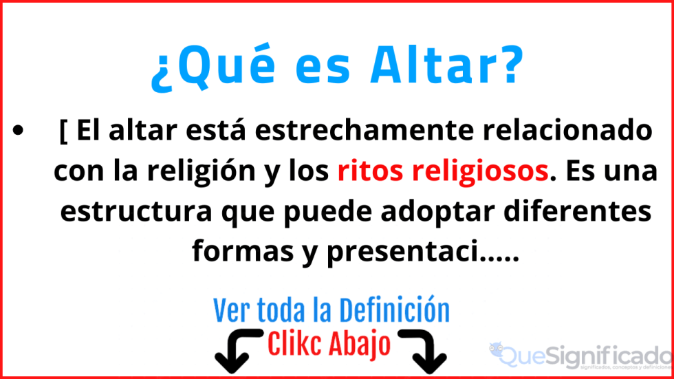 que es altar significado concepto definicion