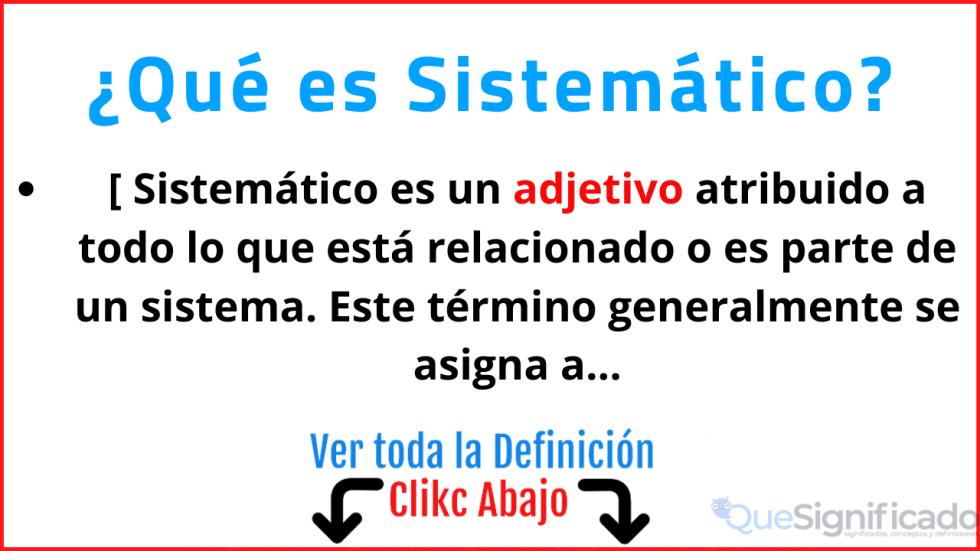qué es sistemático significado concepto definicion