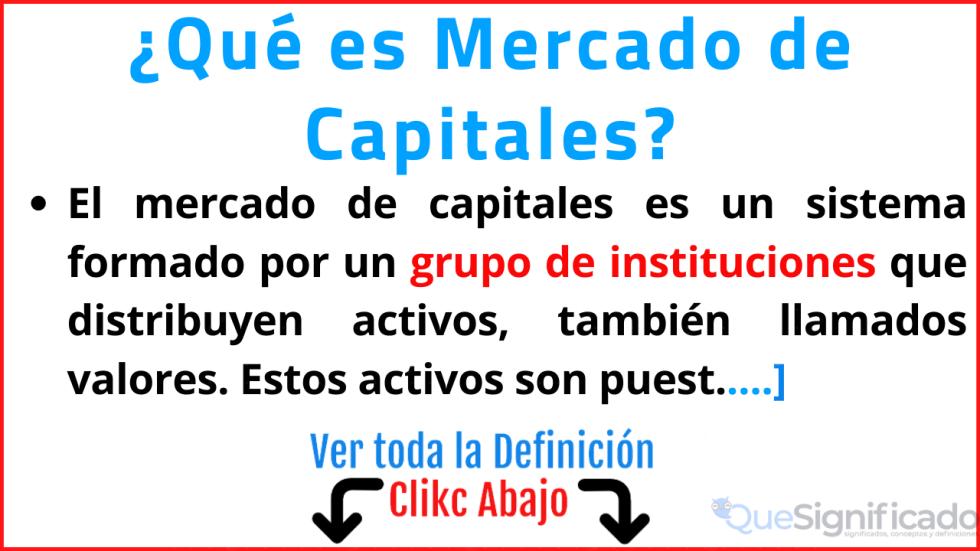 que es mercado de capitales significado concepto definicion