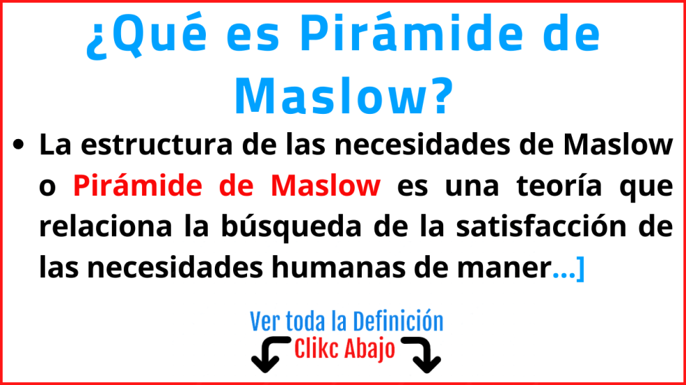 que es pirámide de maslow significado concepto función ejemplos