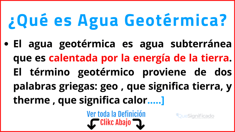 que es agua geotérmica