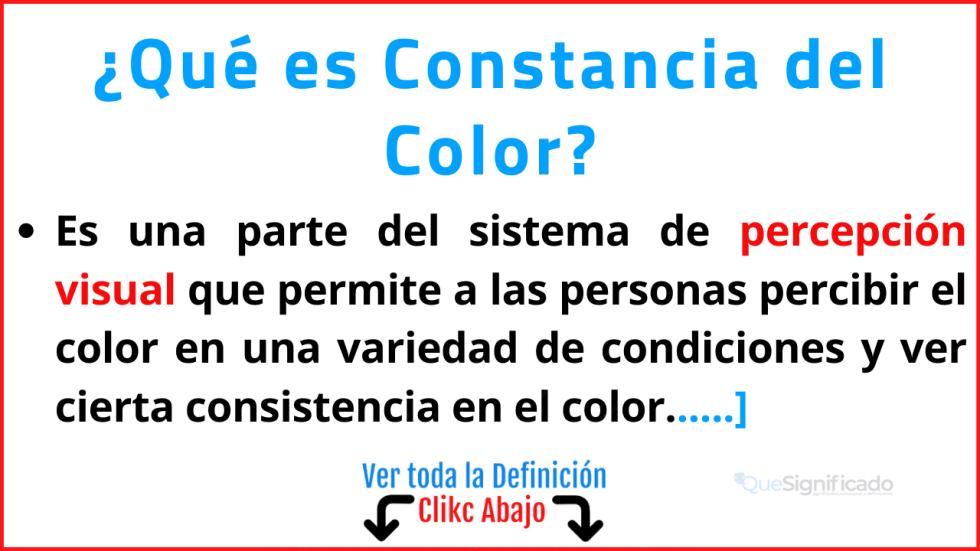 que es constancia del color