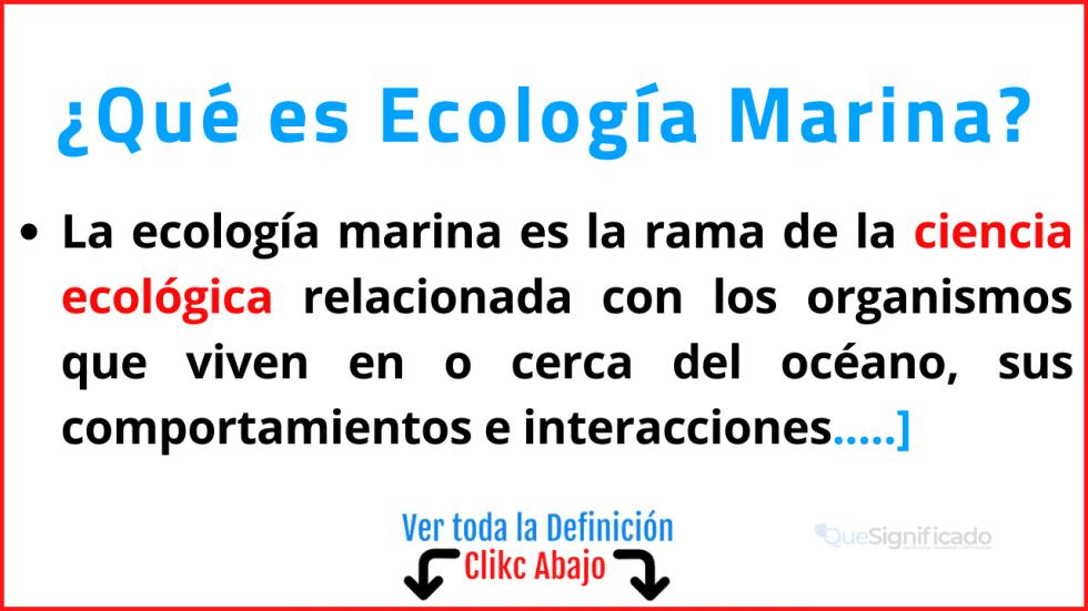 que es ecología marina