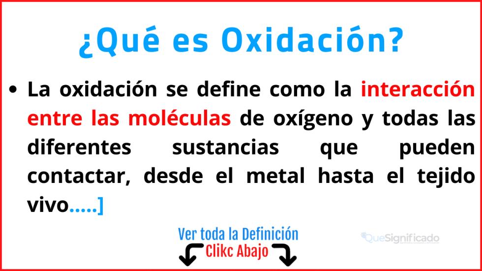 que es oxidacion