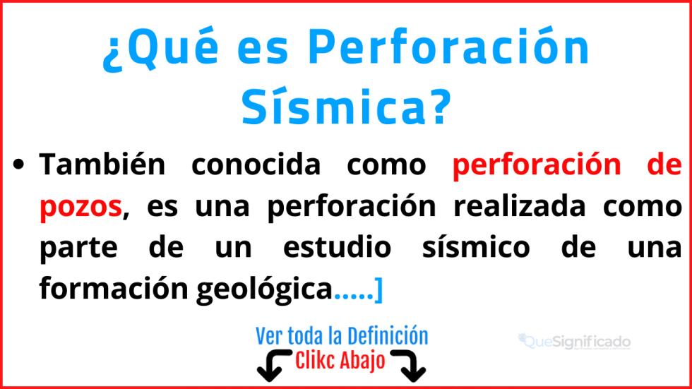 qué es perforacion sismica