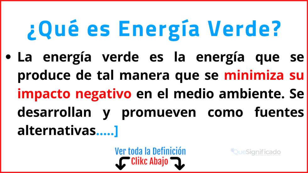 Qué es Energía Verde