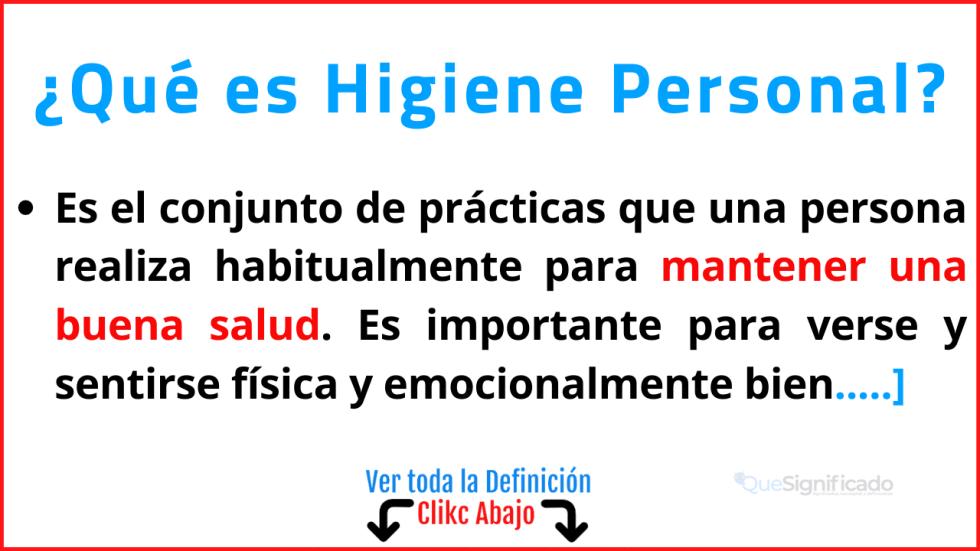 Qué es Higiene Personal