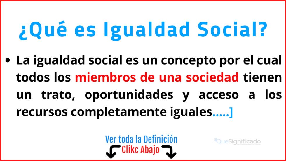 Qué es Igualdad Social