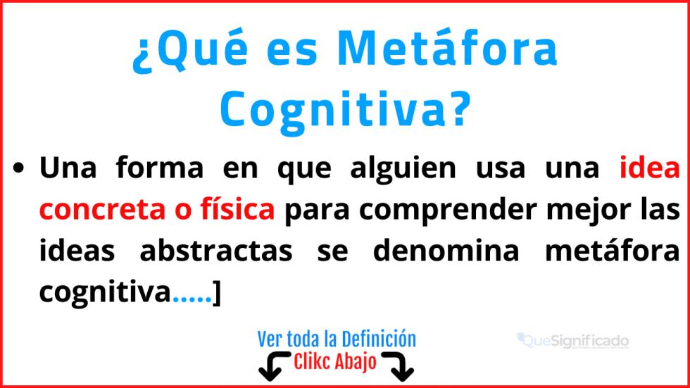 Qué es Metáfora Cognitiva