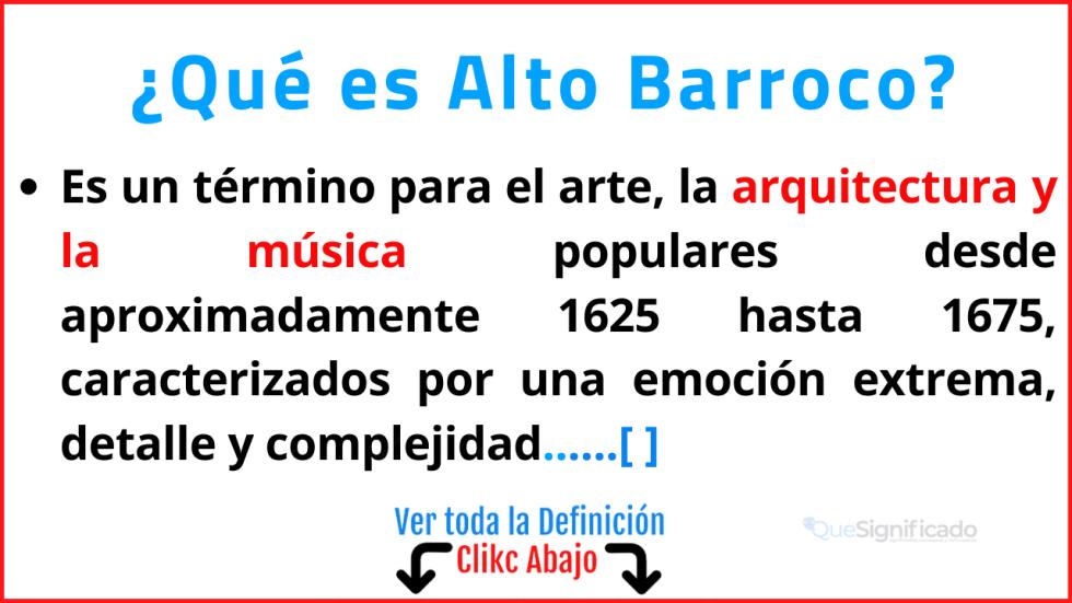 Qué es Alto Barroco