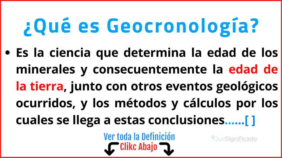 Qué es Geocronología