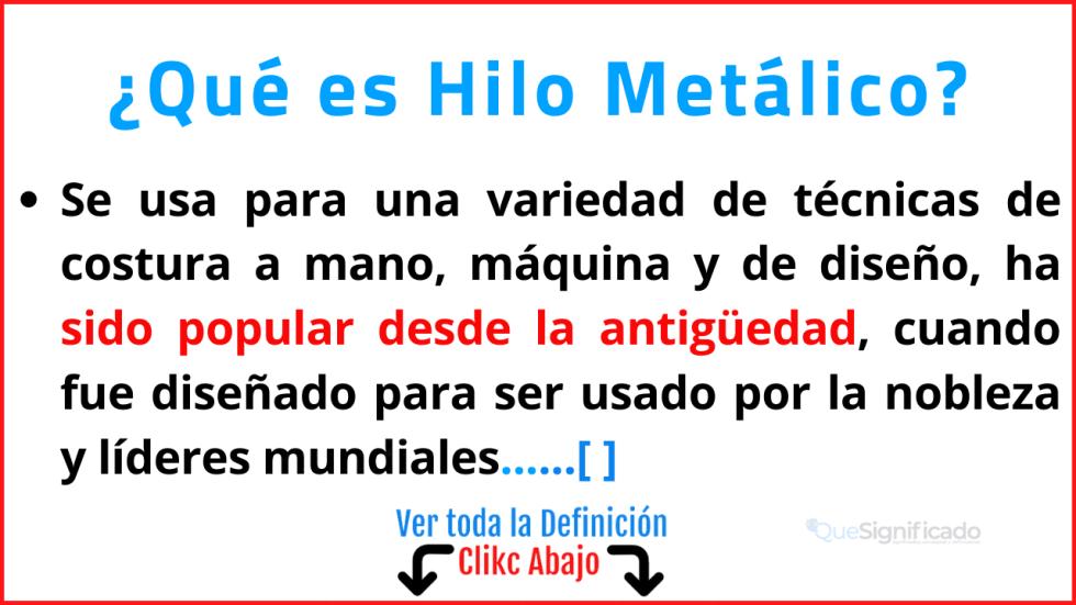 Qué es Hilo Metálico