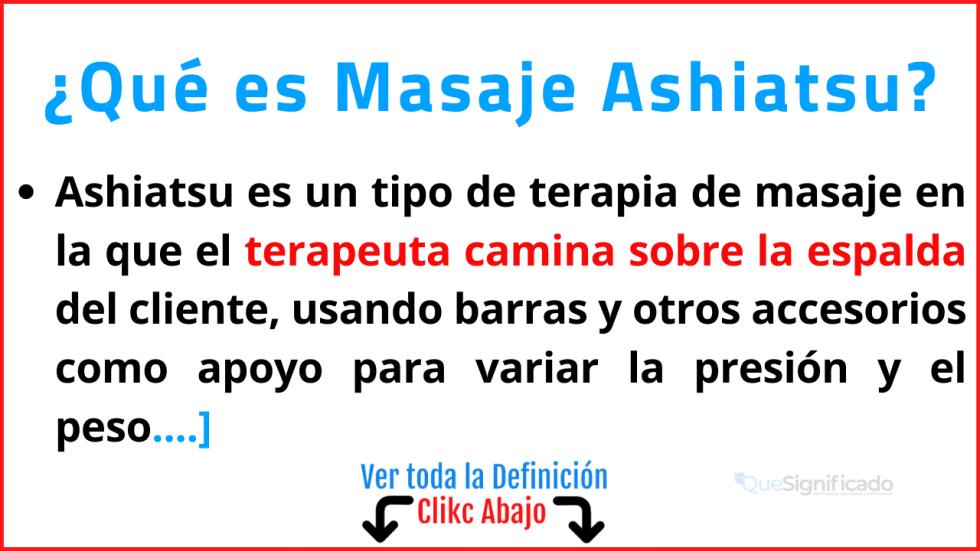 Qué es Masaje Ashiatsu