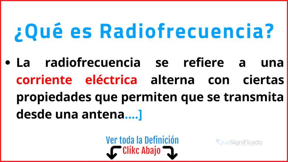 Qué es Radiofrecuencia